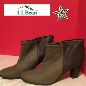 L.L.Bean size 9 1/2 brown 2-tone leather booties